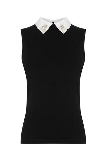 Oasis, SEQUIN COLLAR TOP Black 0