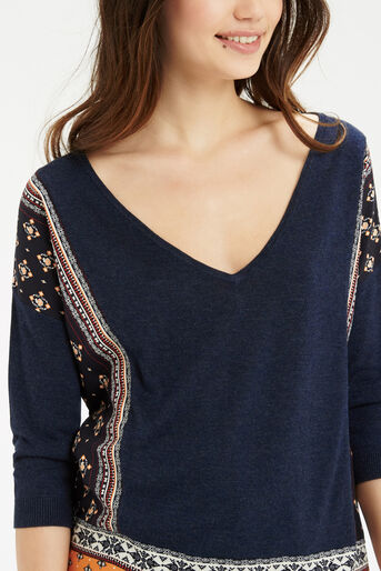 Oasis, Naomi Patched Jumper Multi Blue 4