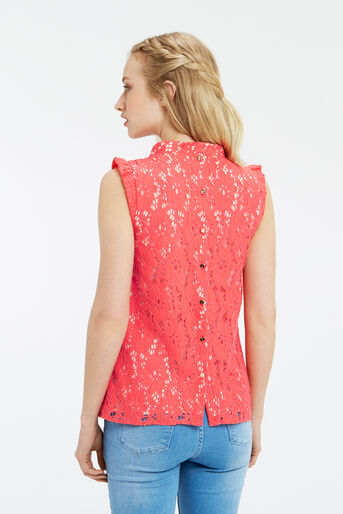 Oasis, LACE RUCHED TOP Coral 3