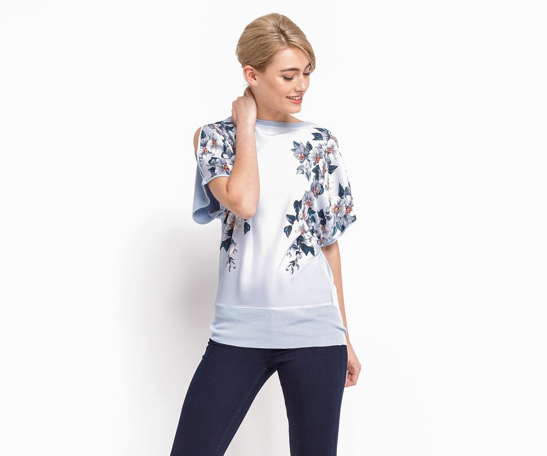 Oasis, Floral kimono tie side Light Blue 1