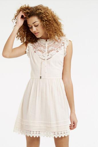 Oasis, Delicate Lace Yoke Shirt Dress Off White 1