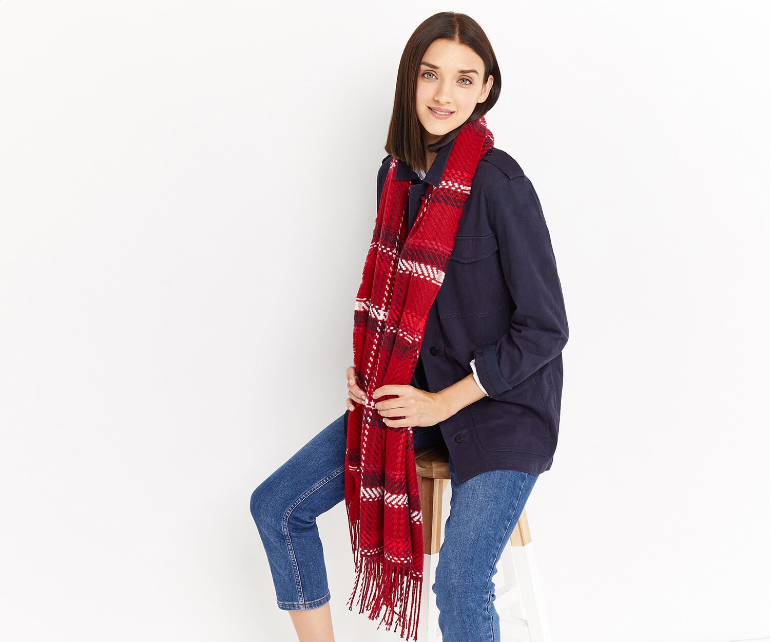 Oasis, PREPPY CHECK SCARF Mid Red 1