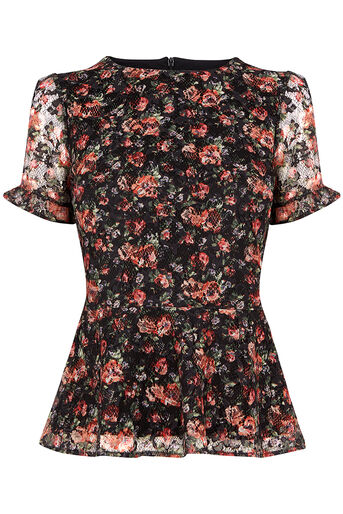 Oasis, MINI ROSE PEPLUM TOP Black 0