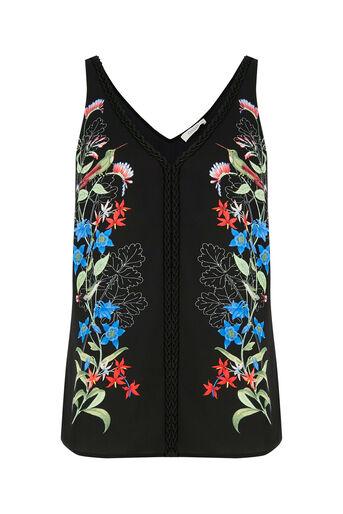 Oasis, Botany Print Plait Trim Vest Multi Black 0