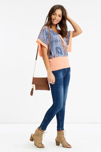 Oasis, Paisley Front Top Coral 2