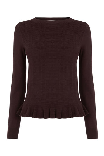Oasis, Frill Knit Top Burgundy 0