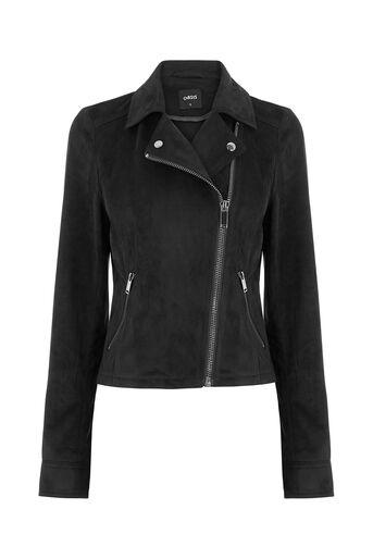 Oasis, Suedette Biker Jacket Black 0