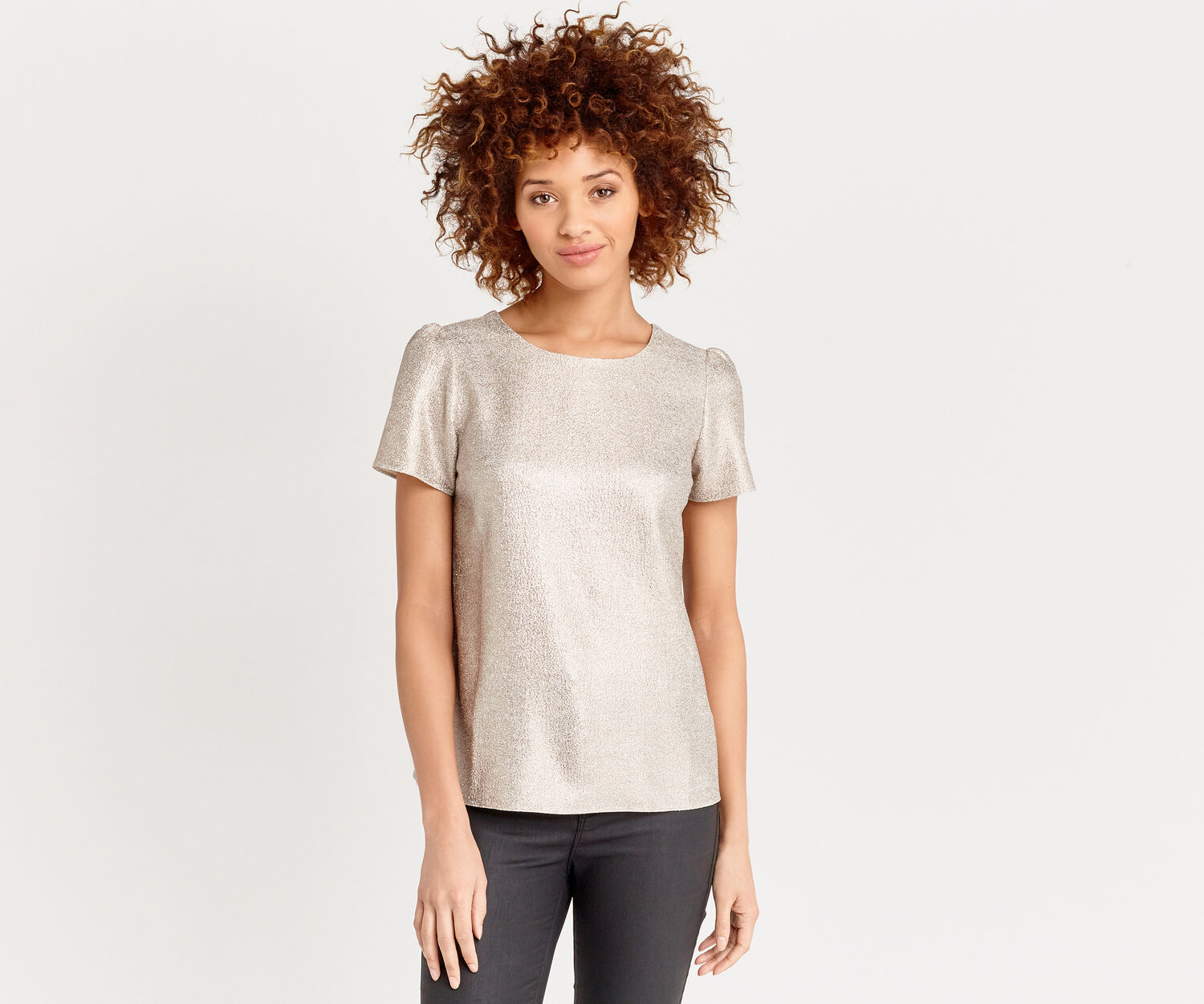 Oasis, METALLIC FORMAL T SHIRT Gold 1