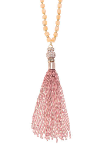Oasis, LONG TASSEL NECKLACE Coral 2