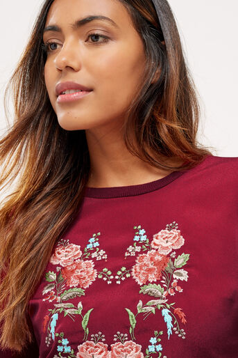 Oasis, Embroidered puritan knit Burgundy 4