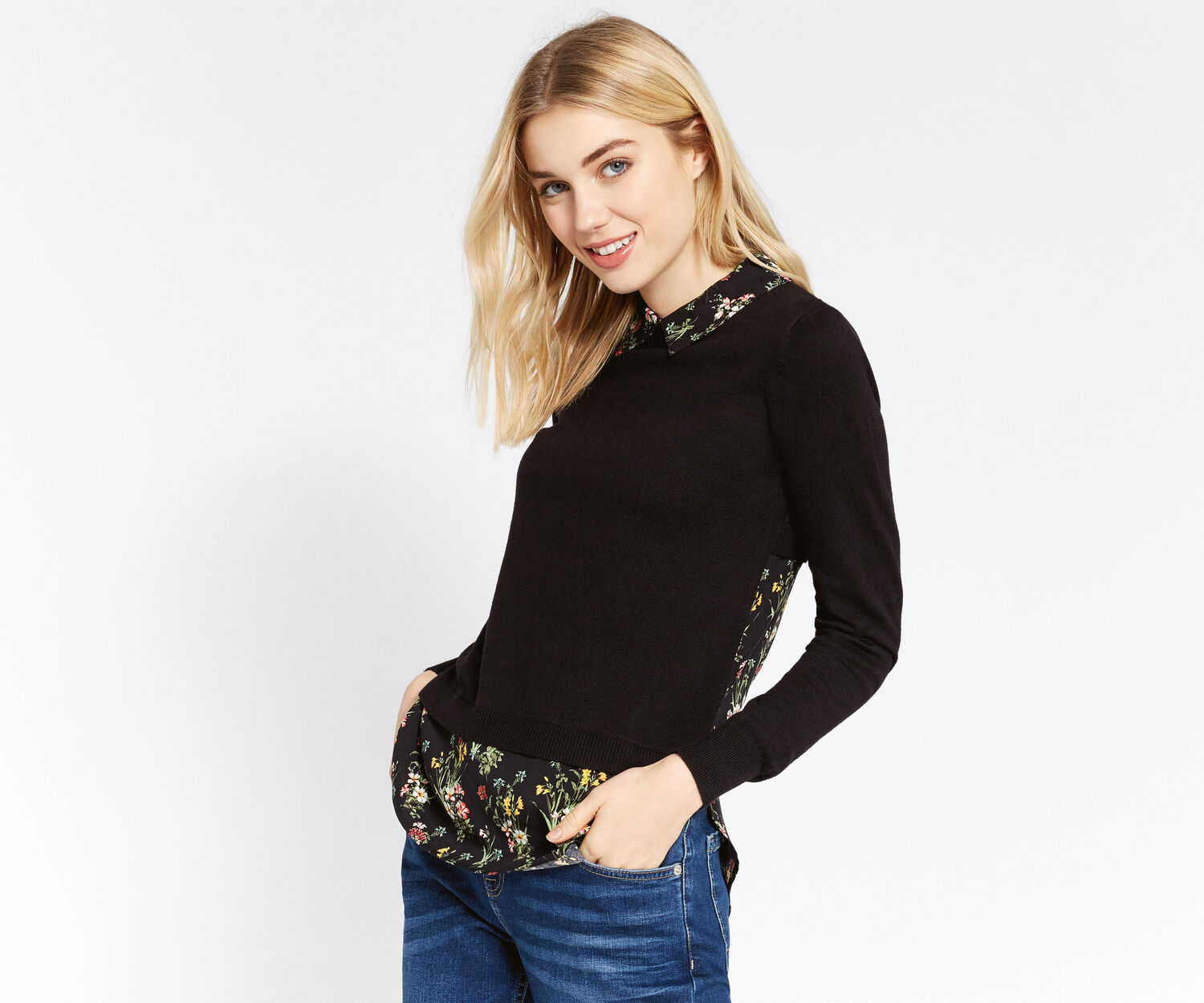 Oasis, Spring bouquet shirt sweater Multi Black 1