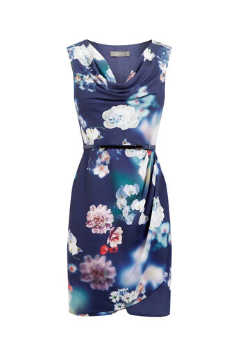 Oasis, FLORAL COWL DRESS Multi Blue 0
