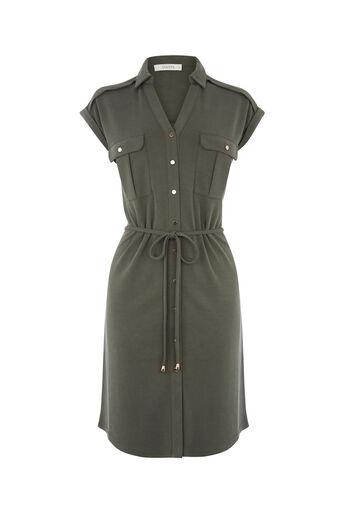 Oasis, sleeveless shirt dress Khaki 0