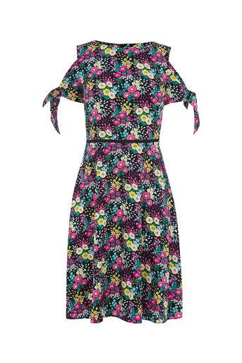 Oasis, DITSY COLD SHOULDER DRESS LONG Multi 0