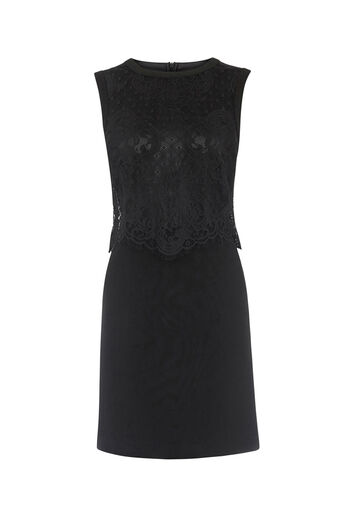 Oasis, LACE SLEEVELESS SHIFT DRESS Black 0
