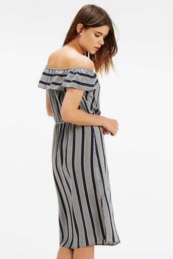 Oasis, Viscose Stripe Ruffle Dress Multi 3