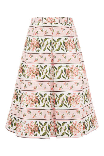 Oasis, STRIPE BLOOM SKIRT Multi Pink 0