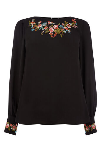 Oasis, EMBROIDERED TOP Black 0