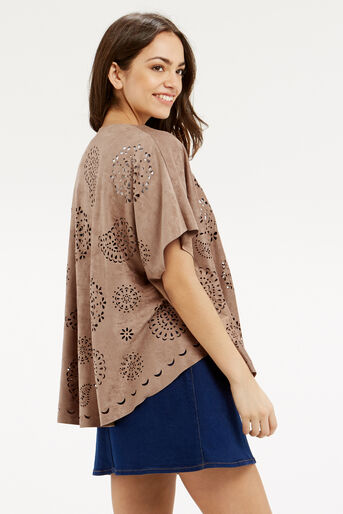 Oasis, FAUX SUEDE CAPE Stone 3