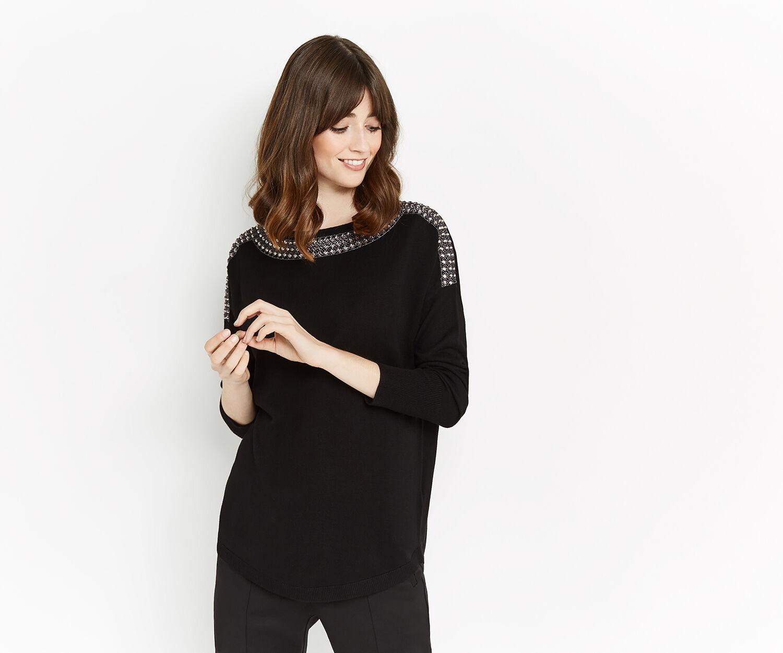 Oasis, Embellished neck knit Black 1