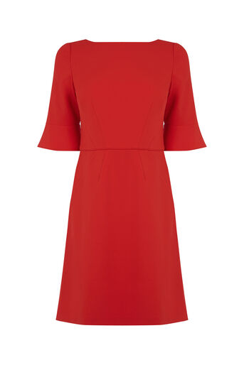 Oasis, Bell Sleeve Dress Mid Red 0