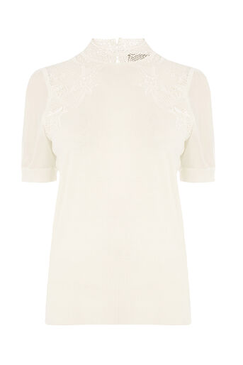 Oasis, LACE AND SHEER SLEEVE KNIT Off White 0