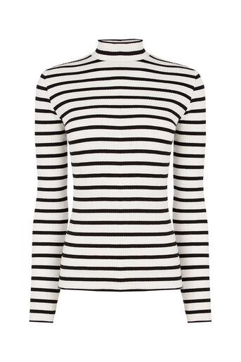Oasis, Skinny Rib Polo Black and White 0