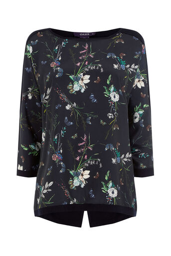 Oasis, Forest butterfly front top Navy 0