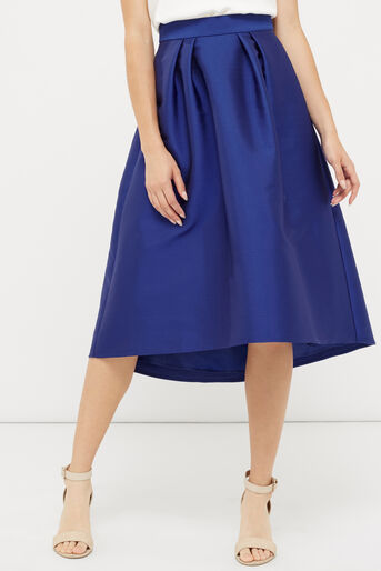 Oasis, SATIN FULL MIDI SKIRT Cobalt Blue 1