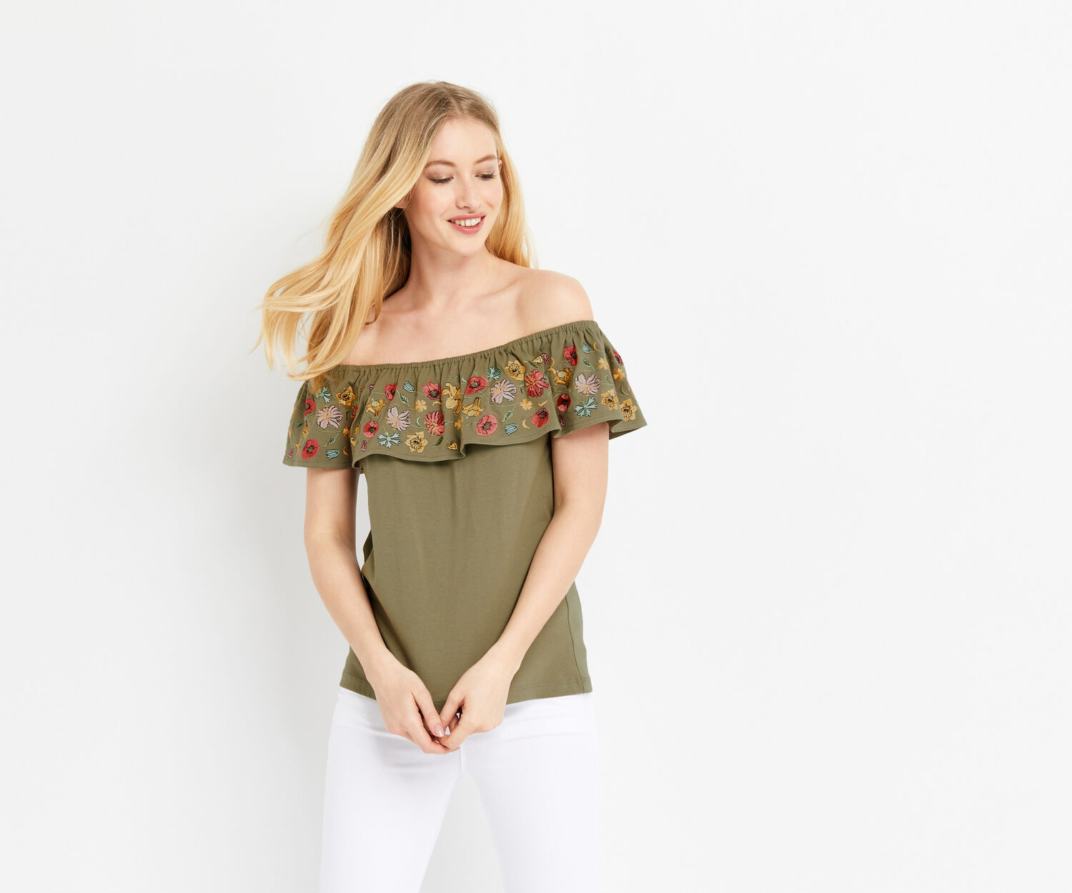 Oasis, EMBROIDERED BARDOT TOP Khaki 1