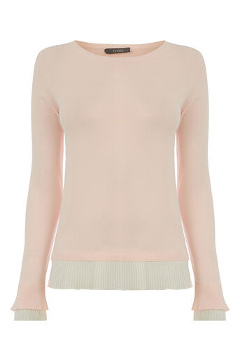 Oasis, PLEATED HEM AND CUFF KNIT Pale Pink 0