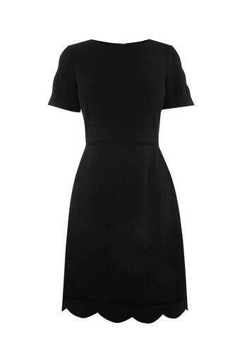 Oasis, LONG SCALLOP SLEEVE DRESS Black 0