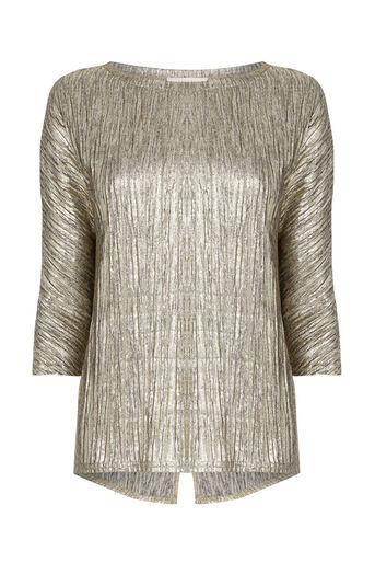 Oasis, PLEATED FOIL SLOUCH TOP Gold 0