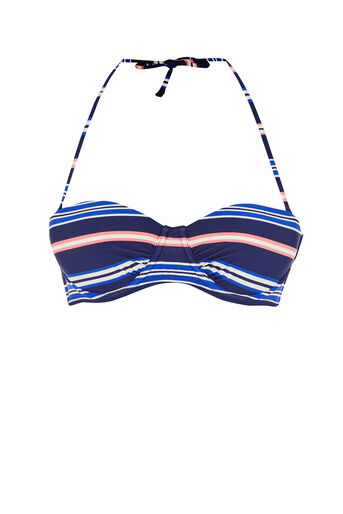 Oasis, STRIPED CUP BIKINI TOP Multi Blue 0