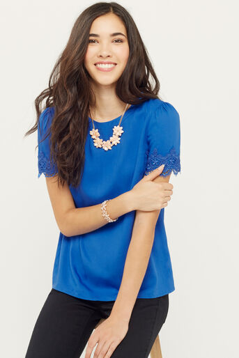 Oasis, LACE TRIM TEE Mid Blue 1