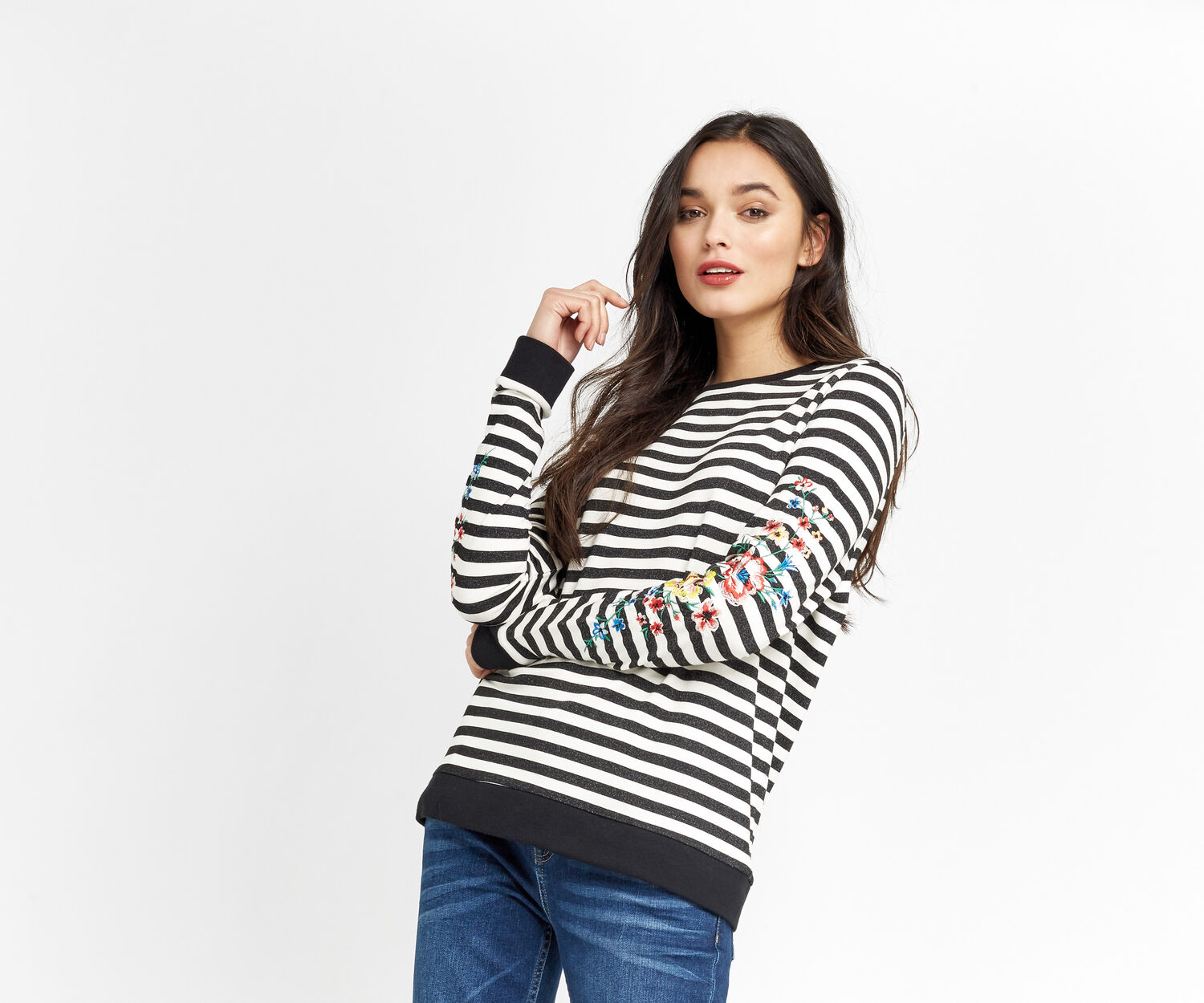 Oasis, STRIPE EMBROIDERED SWEATER Black and White 1