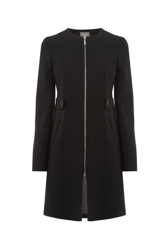 Oasis, COLLARLESS COAT Black 0