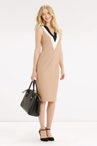Oasis, COLOURBLOCK V NECK DRESS Camel 2