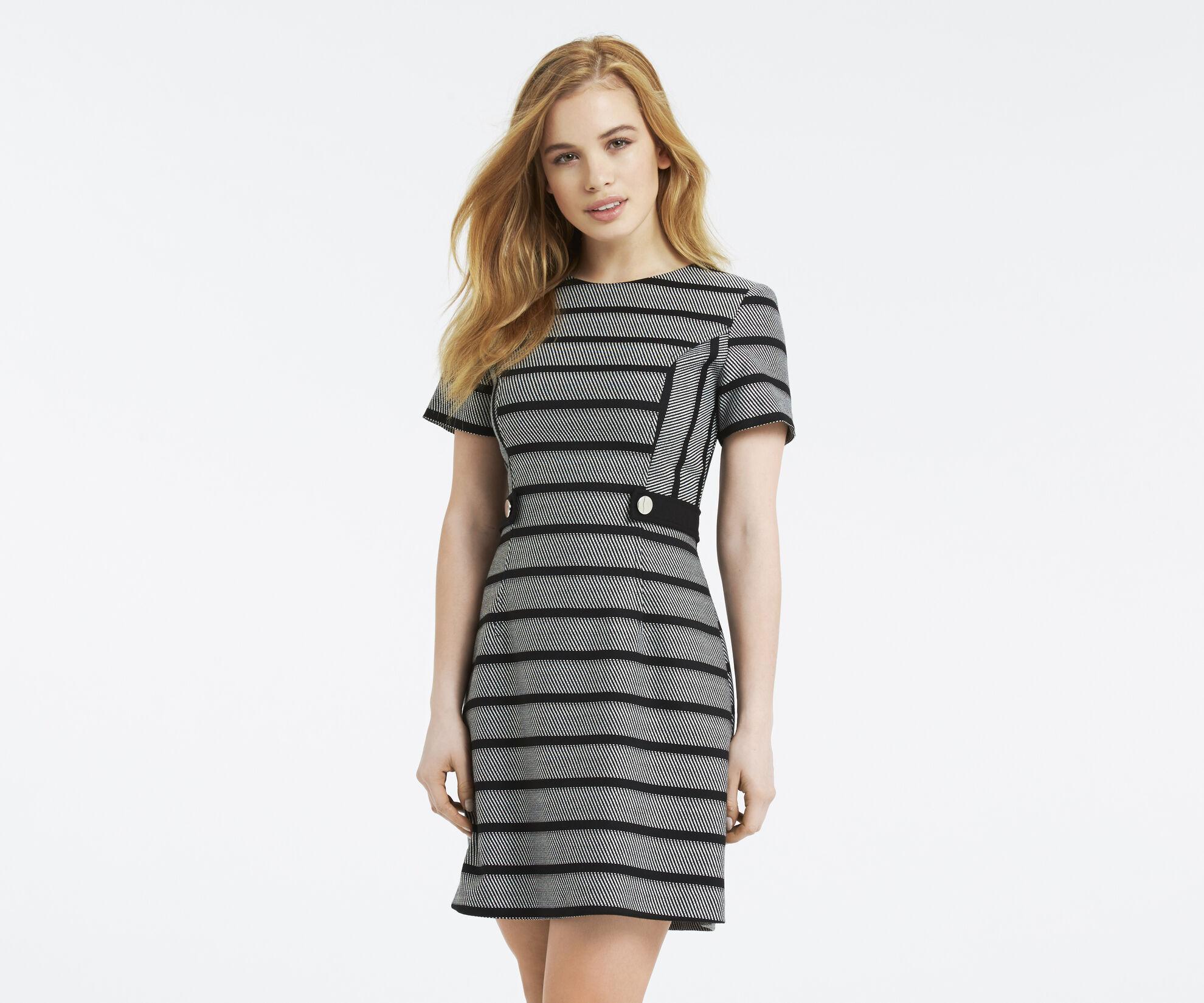 Oasis, Petite Stripe Shift Dress Black and White 1