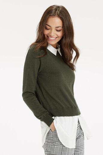 Oasis, Mono 2 in 1 Shirt Tails Khaki 1