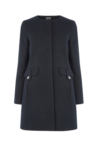 Oasis, COLLARLESS COAT Navy 0
