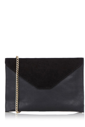Oasis, Charlie Suede Patched Clutch Black 0