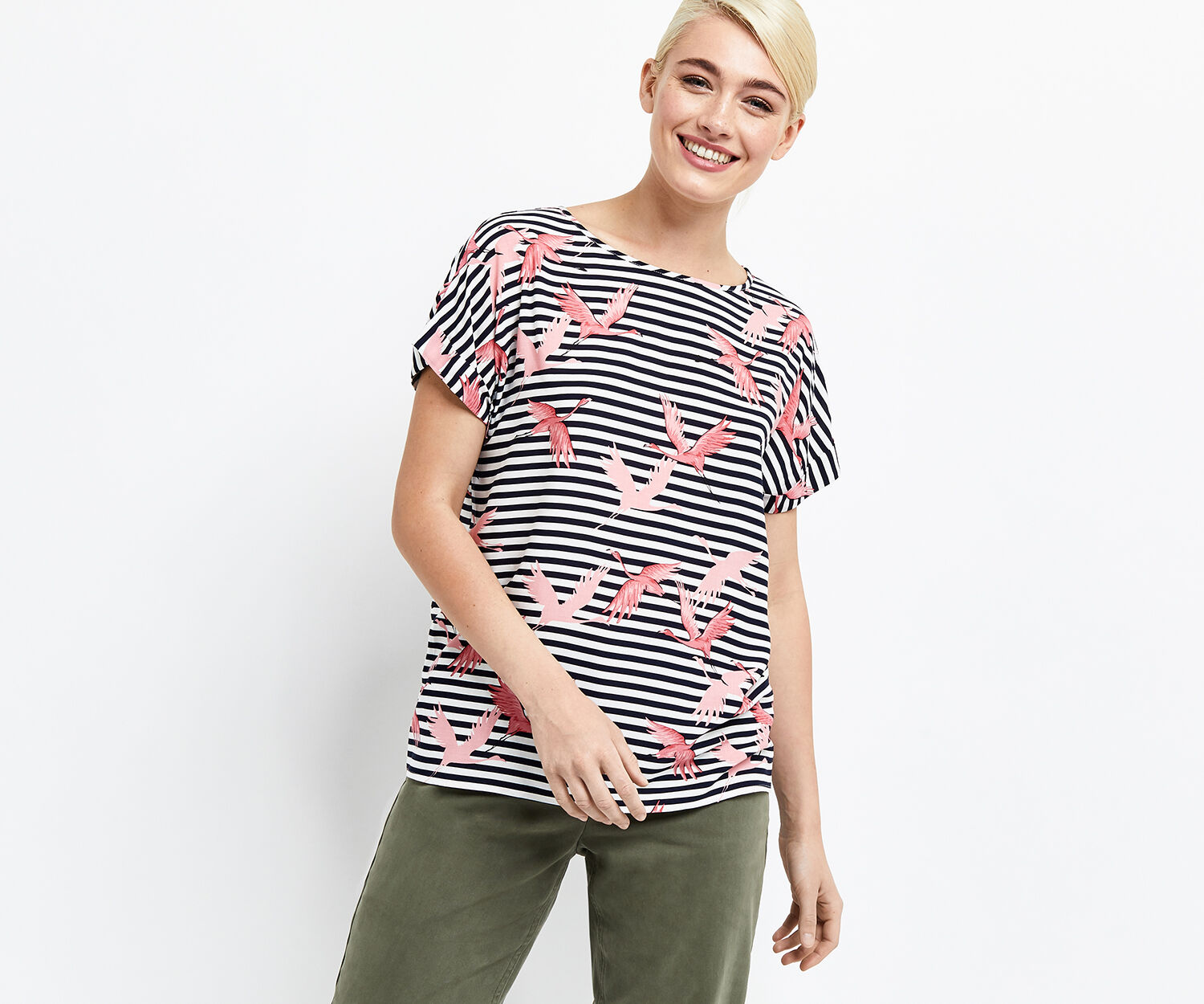Oasis, FLAMINGO STRIPE T-SHIRT Multi 1
