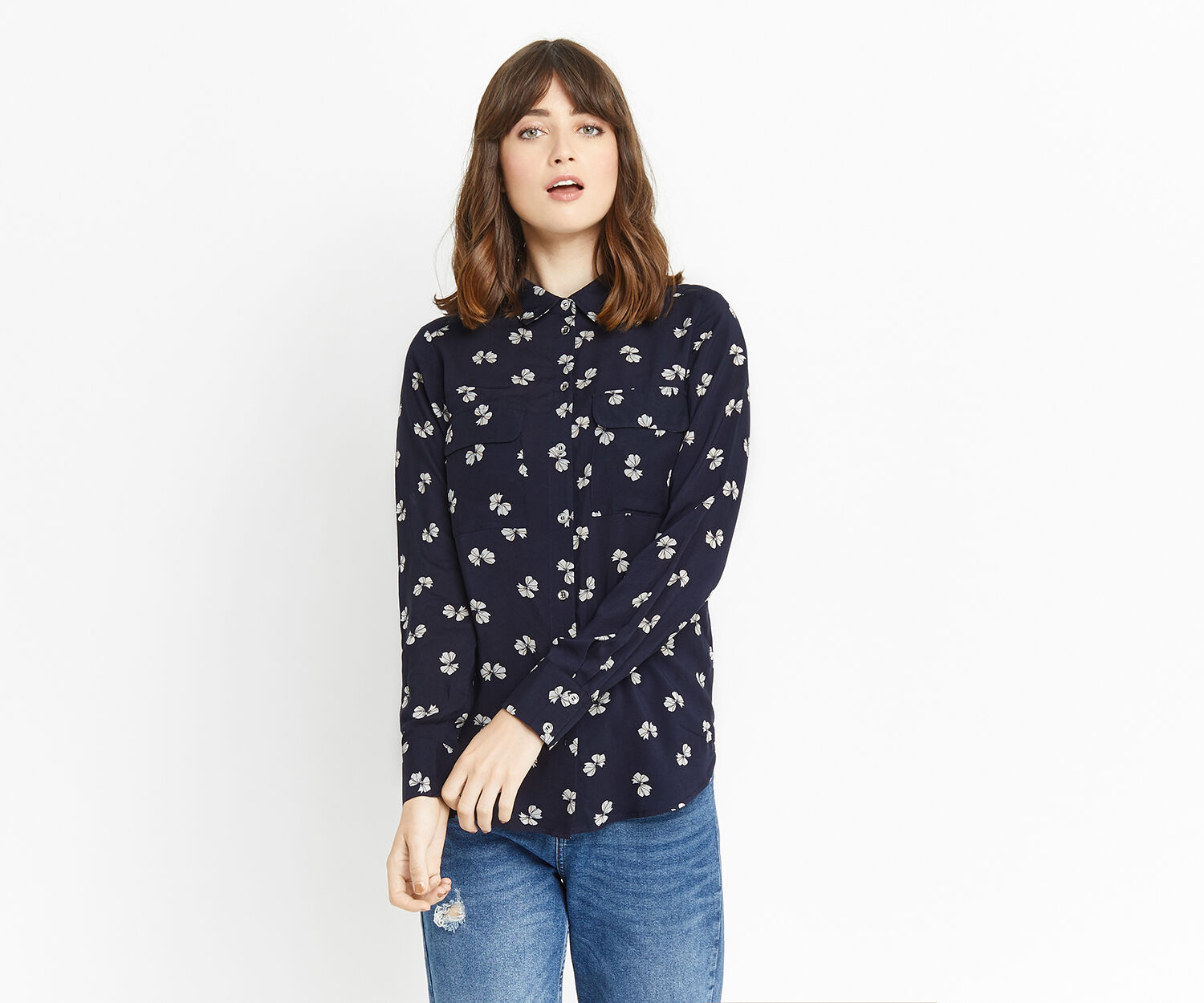 Oasis, BOW PRINT SHIRT Multi Blue 1
