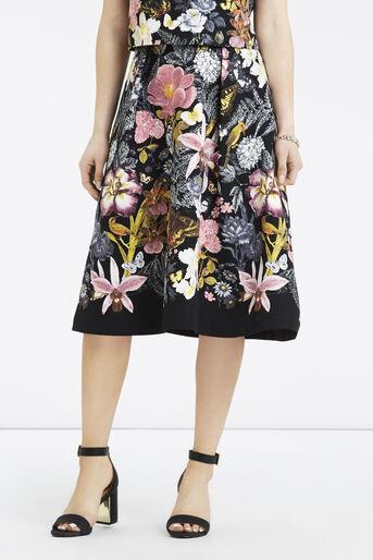 Oasis, Petite Botanical Midi Skirt Multi Black 1