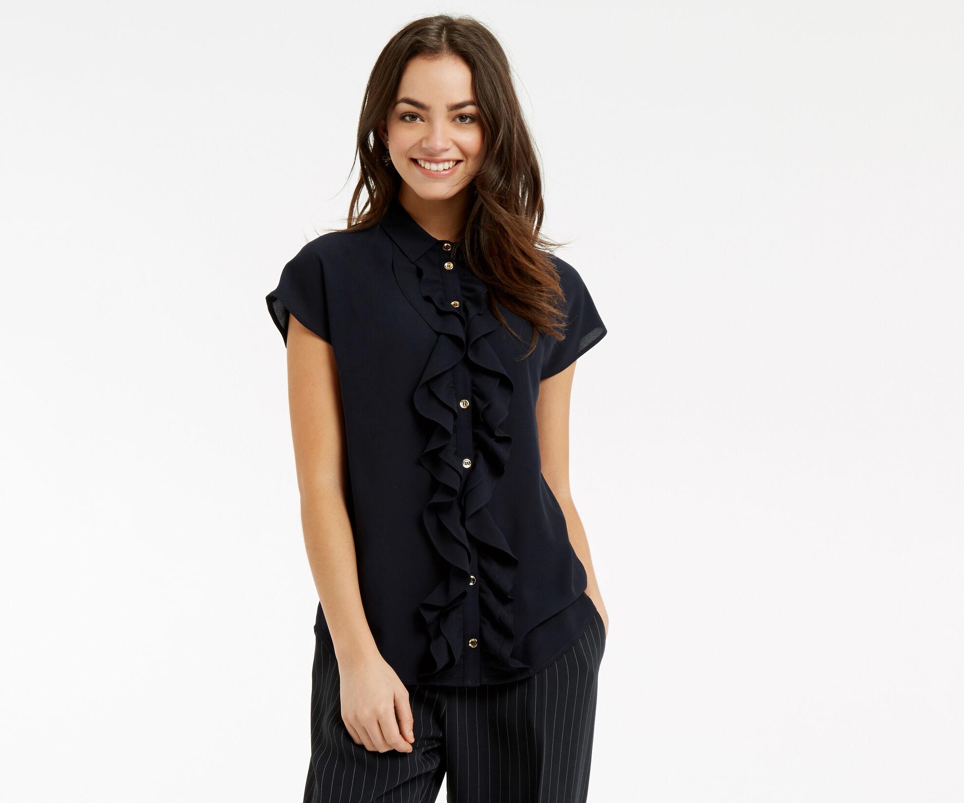 Oasis, Frill Short-Sleeved Shirt Navy 1