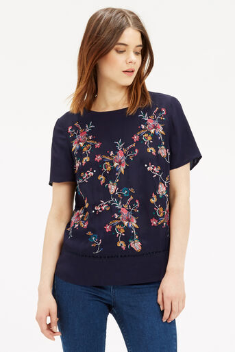 Oasis, Embroidered T-Shirt Multi Blue 1