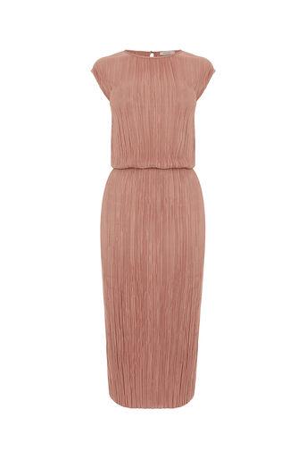 Oasis, PLISSE COLUMN DRESS Mid Pink 0
