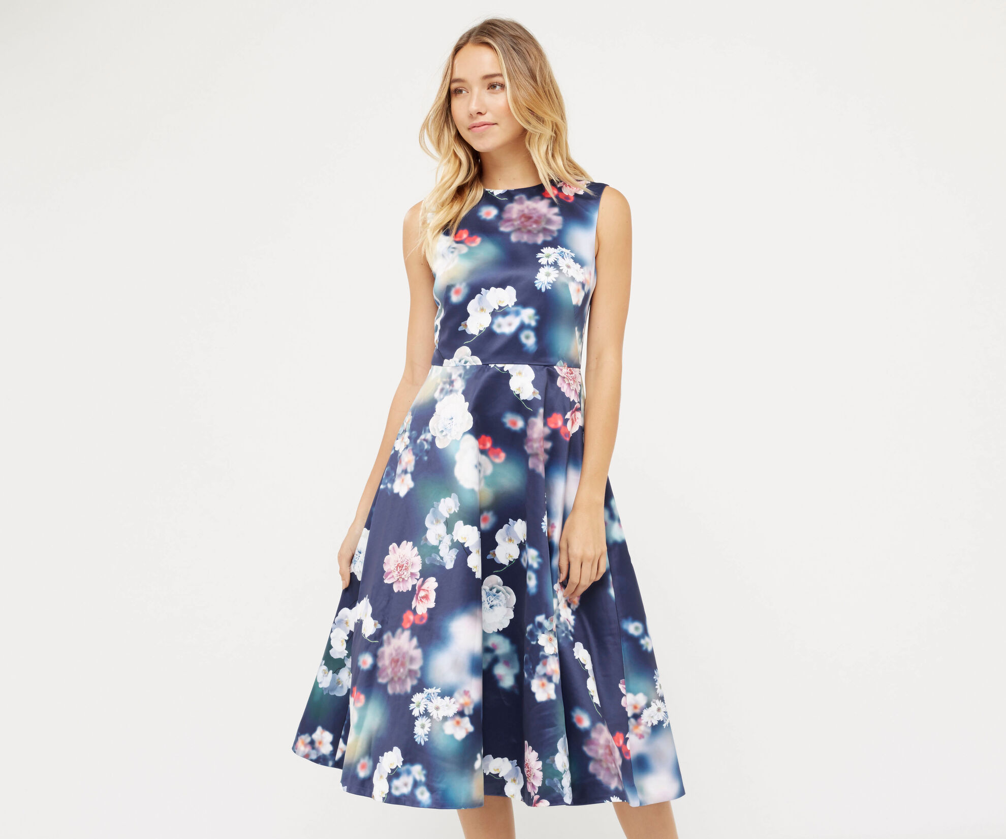 Oasis, PHOTOGRAPHIC SATIN MIDI DRESS Multi Blue 1