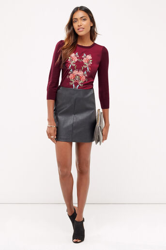 Oasis, Embroidered puritan knit Burgundy 2